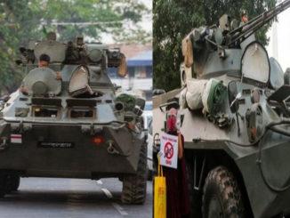 प्रदर्शनकारीमाथि दबाब बढाउ बर्माको सडकभर सेनाका बख्तरबन्द गाडि